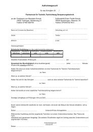 Anmeldeformular - Berufliche Schulen Spaichingen