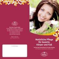 """Broschüre """"Natürliche Pflege für Gesicht, Körper und Fuß - Propolis"""