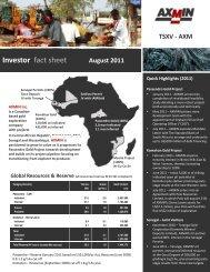 Investor fact sheet August 2011 - AXMIN Inc.