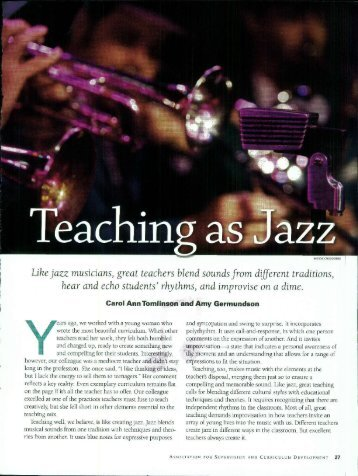 Like jazz musicians, great teachers blend sounds from ... - Cosa