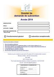 DOSSIER VILLE DE GRASSE DEMANDE DE SUBVENTION 2014