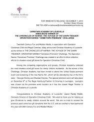 press release - Christian Academy School System