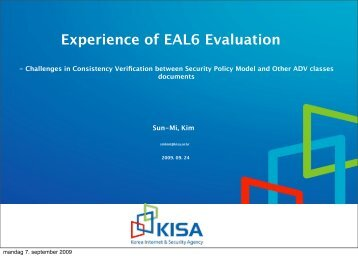 Experience of EAL6 Evaluation - Your Creative Solutions