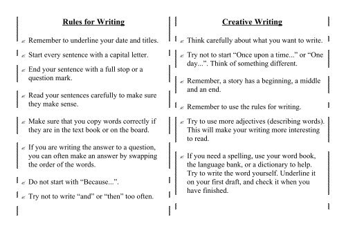 Rules for Writing Creative Writing - Primary Resources