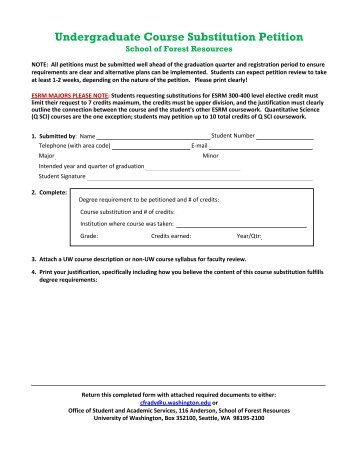 Petition Form for Time Extension or Course Substitution - School ...