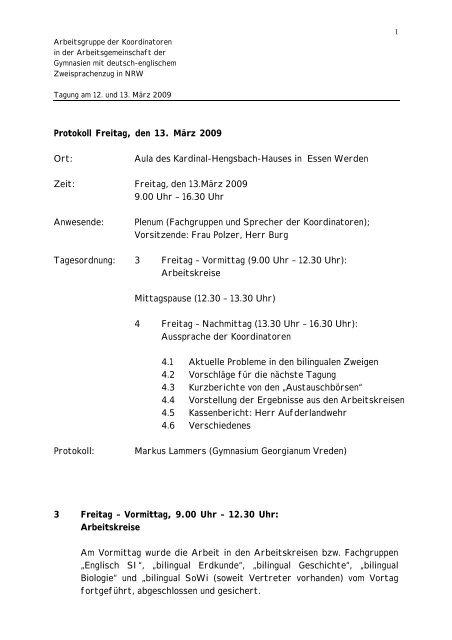 Protokoll 13. März 2009 - Arbeitsgruppe der Koordinator(inn)en in ...