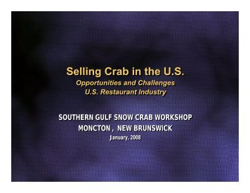 Selling Crab in the US Selling Crab in the US - CCFI