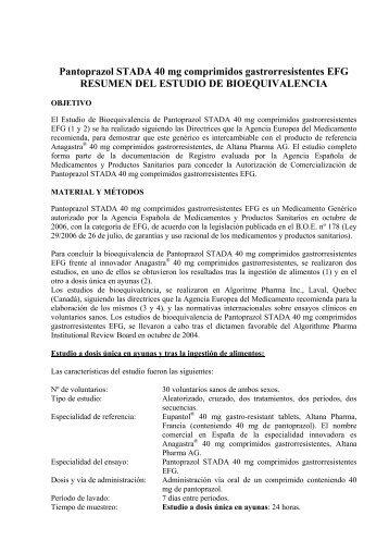 Pantoprazol STADA 40 mg comprimidos gastrorresistentes EFG ...