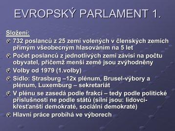 EVROPSKÝ PARLAMENT 1.