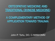 Trauma, Osteopathy and Traditional Chinese Medicine - American ...