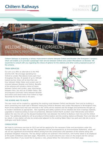 WELCOME TO PROJECT EVERGREEN 3 - Chiltern Evergreen3