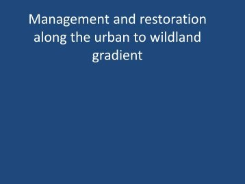 Landscape management /Restoration ecology
