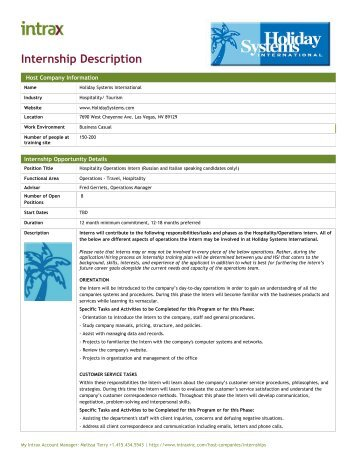 Internship Description - Intrax