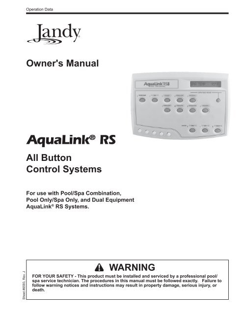 Jandy AquaLink RS All on on