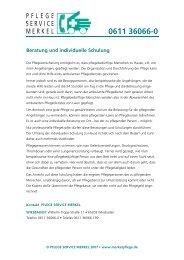 Beratung und individuelle Schulung - Pflege Service Merkel