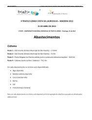 Abastecimentos - Triatlo Madeira