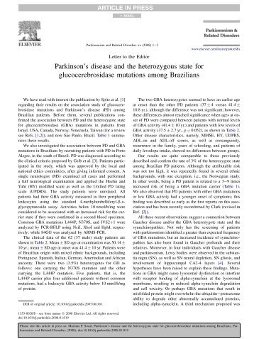 Parkinson's disease and the heterozygous state for ... - Ufrgs.br