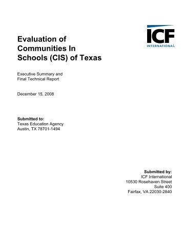 CIS of Texas Evaluation Fiinal Technical Report - TEA - Home ...