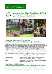 Angebote für Familien 2013 - Culterra Tours
