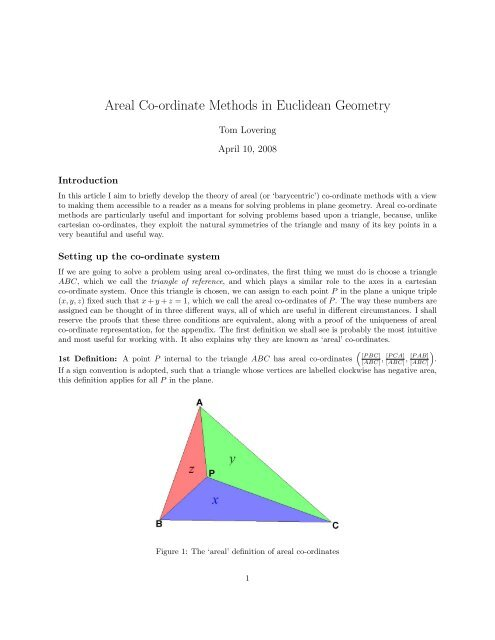 Areal Co-ordinate Methods in Euclidean Geometry - Sharing