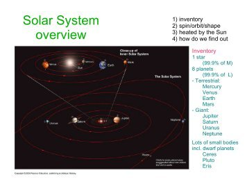 Solar System Overview notes (courtesy M. van Kerkwijk)