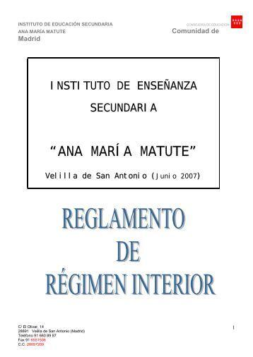 consultar el Reglamento de Regimen Interno - ies ana maría matute