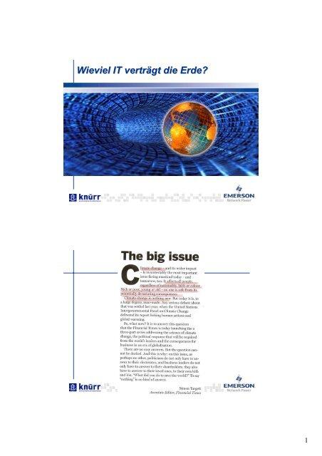 Wieviel IT verträgt die Erde? - L & M Business IT Management