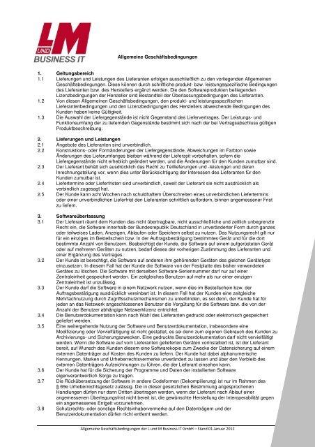 Allgem. Geschäftsbedingungen (PDF) - L & M Business IT ...