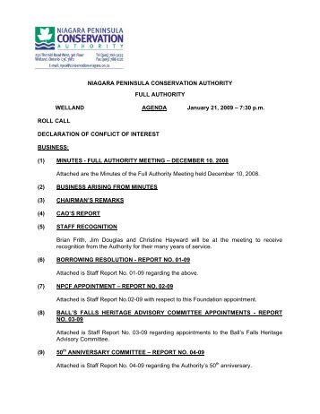 Agenda - Niagara Peninsula Conservation Authority