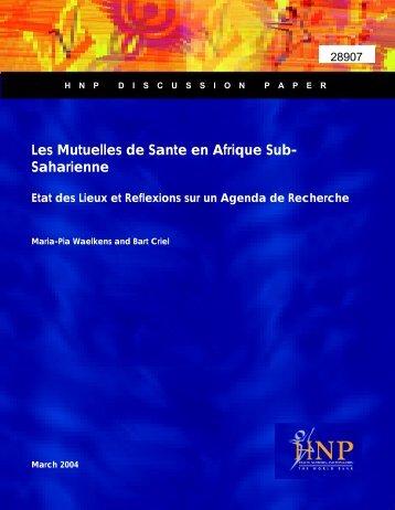 LES MUTUELLES DE SANTÉ EN AFRIQUE SUB-SAHARIENNE ...