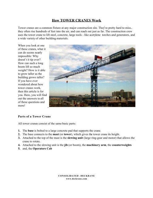How TOWER CRANES Work - Deckrane