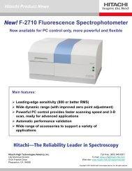 New! F-2710 Fluorescence Spectrophotometer - Hitachi High ...