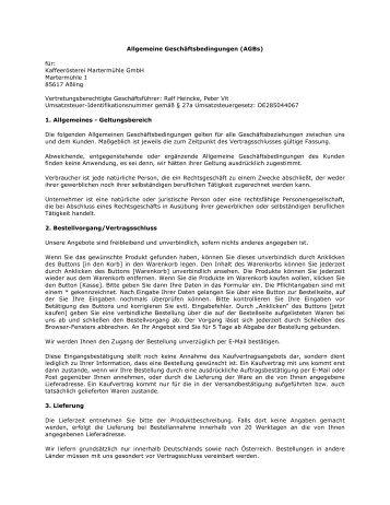 Allgemeine Geschäftsbedingungen (AGBs) für: Kaffeerösterei ...