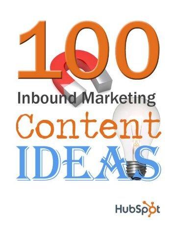 100 Inbound Marketing Content Ideas - HubSpot