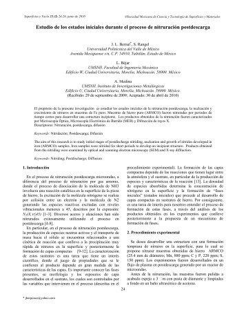 Estudio de los estados iniciales durante el proceso de nitruración ...