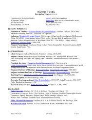 TELFORD C. WORK Curriculum Vitae - Westmont College