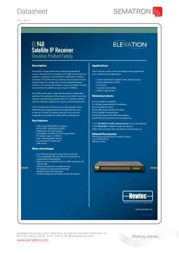 Datasheet Newtec EL940 Satellite IP Receiver - Sematron UK Ltd.