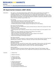 UK Supermarket Analysis (2007-2010) - Research and Markets