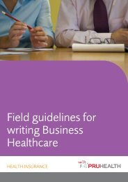 Field guidelines for writing Business Healthcare - PruHealth