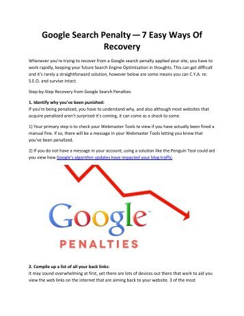 Google Search Penalty — 7 Easy Ways Of Recovery