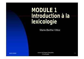 MODULE 1 Introduction à la lexicologie