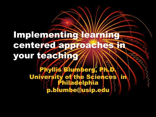 Implementing learning centered approaches in your teaching