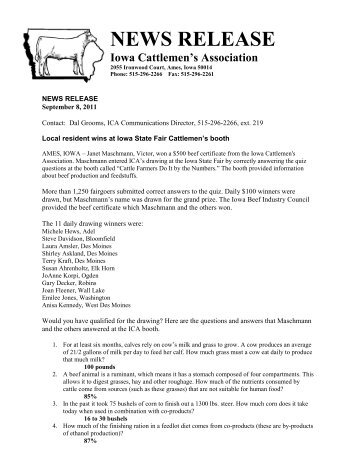 Consumers win beef certificates at Iowa State Fair