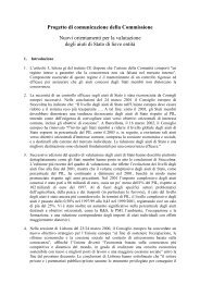 Progetto di comunicazione della Commissione Nuovi ... - Europroject