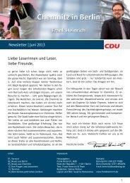 Newsletter | Juni 2013 Liebe Leserinnen und Leser ... - Frank Heinrich