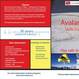 View Avalanche Skills Training Brochure - Colwest Alpine Adventures