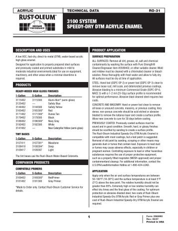 3100 SYSTEM SPEEDY-DRY DTM ACRYLIC ENAMEL - Rust-Oleum