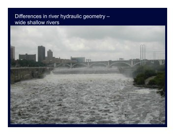 Differences in river hydraulic geometry – wide shallow rivers