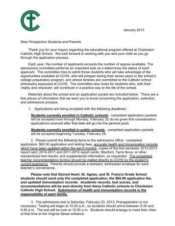 2013-2014 New Student Application - 6th Grade - Charleston ...