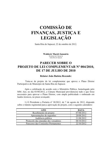 Plano Diretor - Camara Municipal - Santa Rita do Sapucai